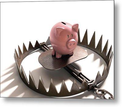 Animal Trap With Piggy Bank Metal Print