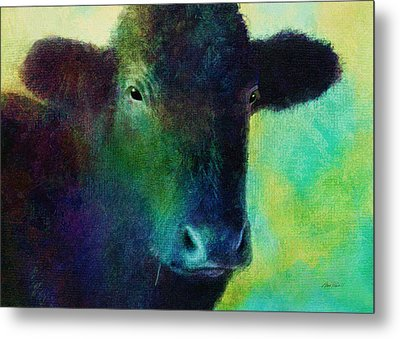 animals - cows- Black Cow Metal Print by Ann Powell