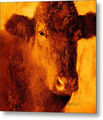animals- cows- Brown Cow Metal Print by Ann Powell