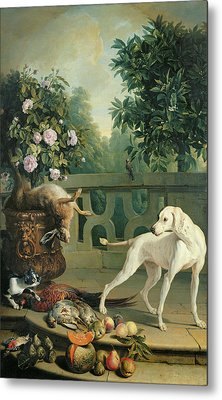 Animals, Flowers And Fruits Oil On Canvas Metal Print by Alexandre-Francois Desportes