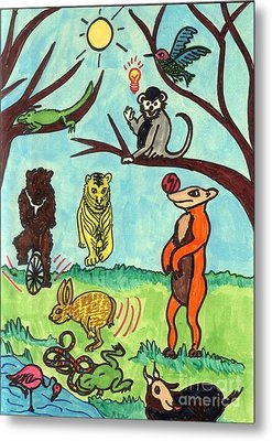 Animals In The Park Metal Print