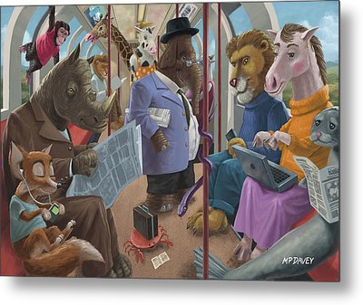 Animals On A Tube Train Subway Commute To Work Metal Print by Martin Davey
