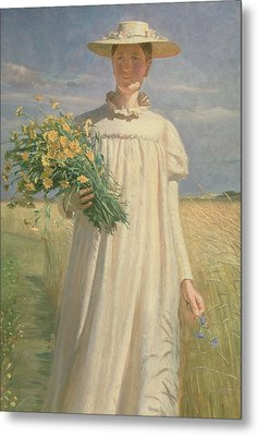 Anna Ancher Returning From Flower Picking, 1902 Metal Print by Michael Peter Ancher