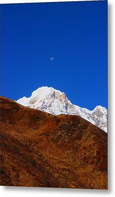 Annapurna South Moon Rise Metal Print by FireFlux Studios