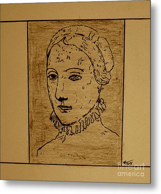 Metal Print featuring the drawing Anne by Bill OConnor