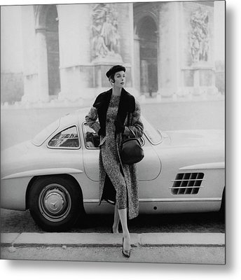 Anne St. Marie By A Mercedes-benz Car Metal Print