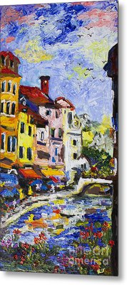 Annecy France Canal And Bistros Impressionism Knife Oil Painting Metal Print by Ginette Callaway