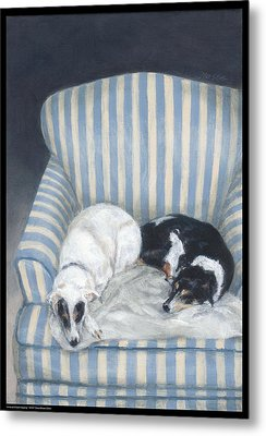 Annie And Spike Napping Metal Print by Diana Moses Botkin