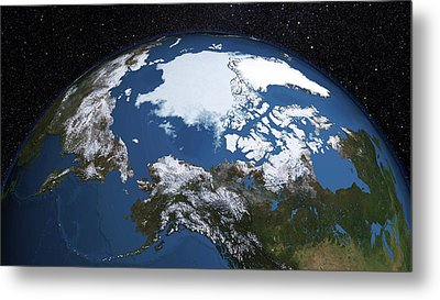 Annual Minimum Arctic Sea Ice Metal Print by Nasa's Scientific Visualization Studio