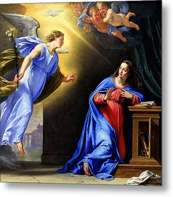 Metal Print featuring the painting Annunciation by Philippe de Champaigne