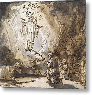 Annunciation To The Shepherds Metal Print by Rembrandt
