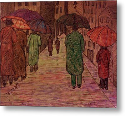 Another Walk In The Rain Metal Print by Christy Saunders Church