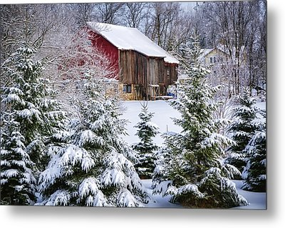 Another Wintry Barn Metal Print by Joan Carroll