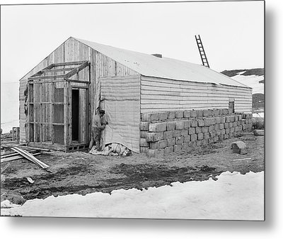 Antarctic Base Camp Construction Metal Print by Scott Polar Research Institute