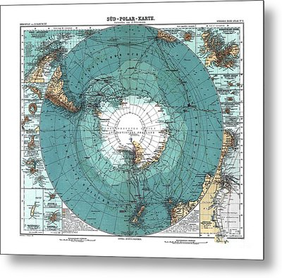 Antarctica Map Old 1912 Poster Art Drawing Metal Print by Paul Fearn