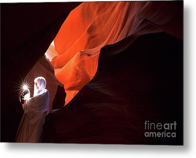 Antelope Canyon Keeper Of The Light Metal Print by Bob Christopher