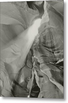 Antelope Canyon Light Black And White Metal Print