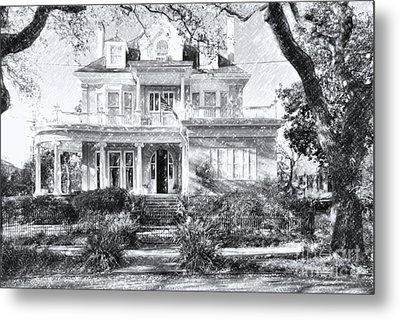 Anthemion At 4631 St Charles Ave. New Orleans Sketch Metal Print
