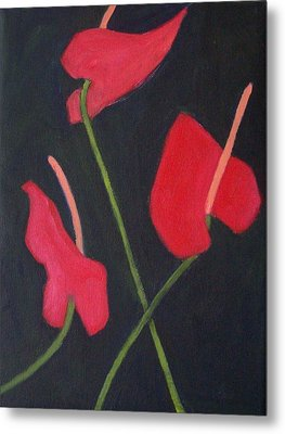 Anthuriums Metal Print by Mary Adam