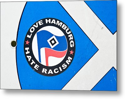Anti-racism Sticker Metal Print by Tom Gowanlock