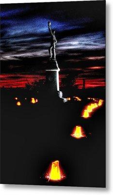 Antietam Memorial Illumination - 3rd Pennsylvania Volunteer Infantry Sunset Metal Print by Michael Mazaika