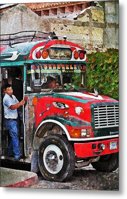 Antigua Bus Stop Metal Print by Maria Huntley
