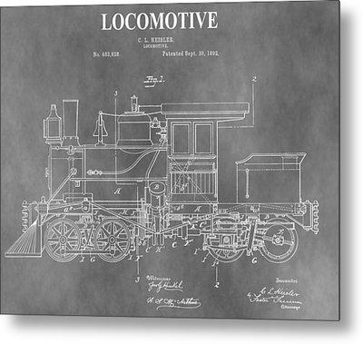 Antique 1892 Train Patent Metal Print by Dan Sproul