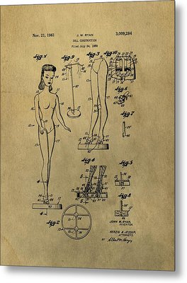 Antique Barbie Doll Patent Metal Print by Dan Sproul