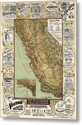 Antique Bicycle Map Of California By George W. Blum - 1895 Metal Print
