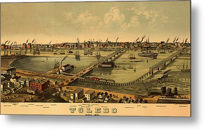 Antique Bird's-eye View Map Of Toledo Ohio 1876 Metal Print