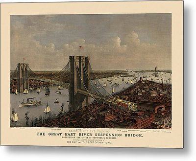 Antique Birds Eye View Of The Brooklyn Bridge And New York City By Currier And Ives - 1885 Metal Print by Blue Monocle