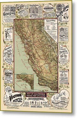 Antique California Bicycle Trails Metal Print by Gary Grayson