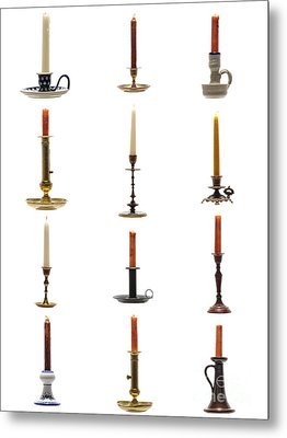 Antique Candleholders Metal Print by Olivier Le Queinec