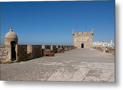 Antique Cannon Lined Up On The City Metal Print
