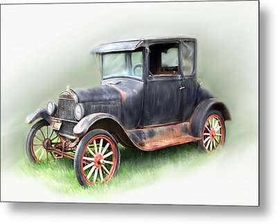 Metal Print featuring the painting Antique Car by Bonnie Willis