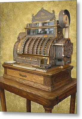 Antique Cash Register Metal Print by Ric Darrell