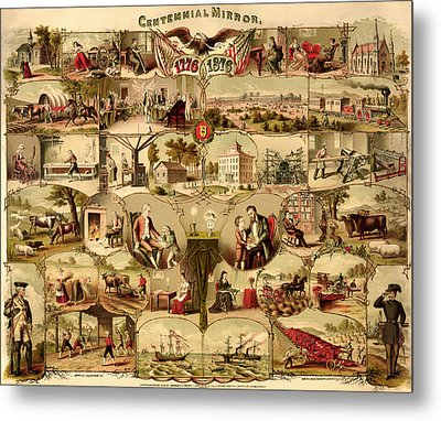 Antique Centennial Mirror Of The United States 1776-1876 Metal Print