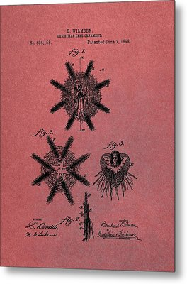 Antique Christmas Tree Ornaments Patent Metal Print by Dan Sproul