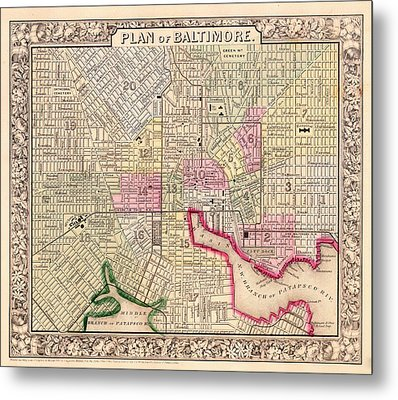 Antique City Map Of Baltimore 1864 Metal Print by Mountain Dreams