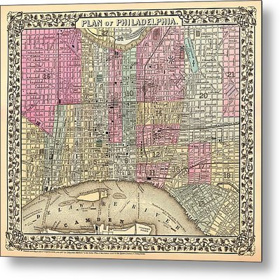 Antique City Map Of Philadelphia 1867 Metal Print by Mountain Dreams