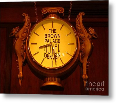 Antique Clock At The Bown Palace Hotel Metal Print by John Malone