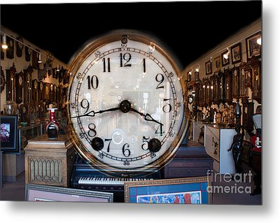 Metal Print featuring the photograph Antique Clock Store by Gunter Nezhoda