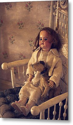 Antique Doll With A Puppy Metal Print by Maria Angelica Maira