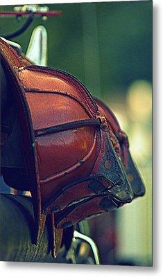 Antique Fireman Helmets Metal Print