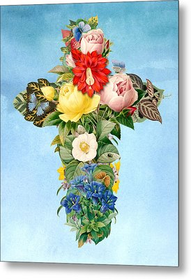 Antique Flower Cross Metal Print by Gary Grayson