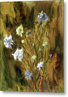 Metal Print featuring the painting Antique Flowers by Vic  Mastis