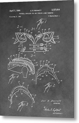 Antique Football Pads Patent Metal Print by Dan Sproul