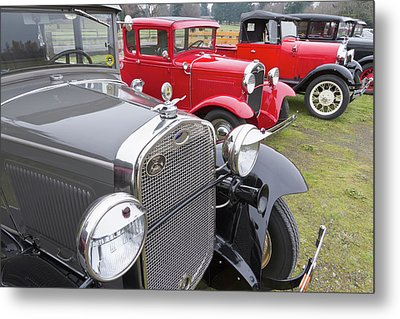 Antique Ford Automobiles At Ft Metal Print