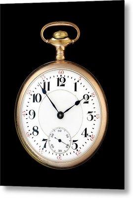 Antique Gold Pocketwatch Metal Print by Jim Hughes