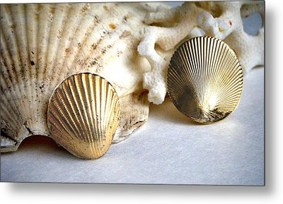 Antique Gold Sea Shell Style Earrings 2 Metal Print by Bruce Iorio